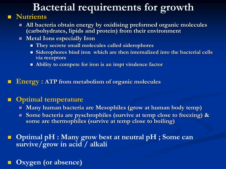 bacterial growth requirements Synthetic biology one is a free, open online course in synthetic biology beginning at the undergraduate level we welcome scientists, artists, journalists.