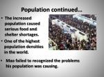 population continued