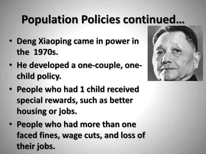 Population Policies continued…