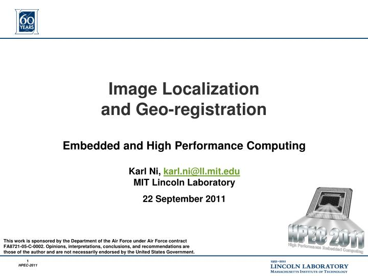 Image localization and geo registration
