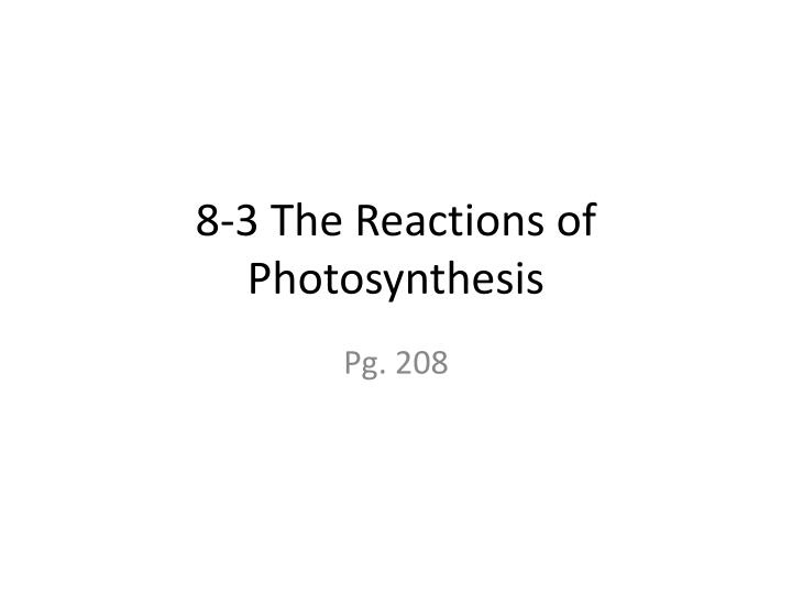 8 3 the reactions of photosynthesis