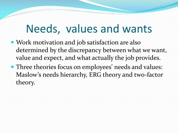 Needs,  values and wants