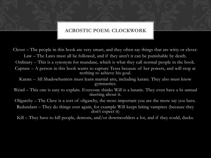Acrostic poem: Clockwork