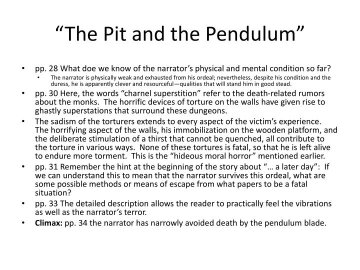The pit and the pendulum essay