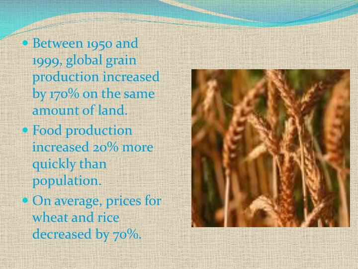 Between 1950 and 1999, global grain production increased by 170% on the same amount of land.