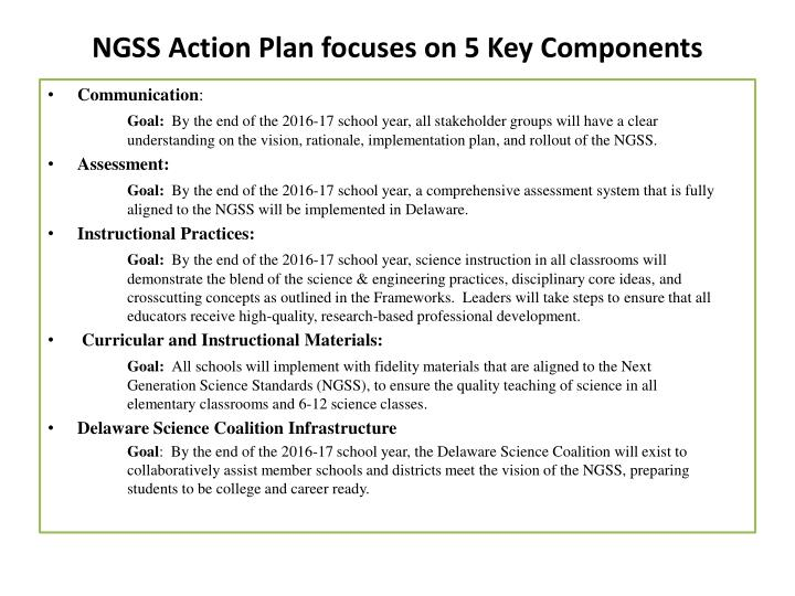 NGSS Action Plan focuses on 5 Key Components