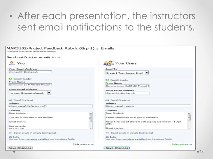 After each presentation, the instructors sent email notifications to the students.