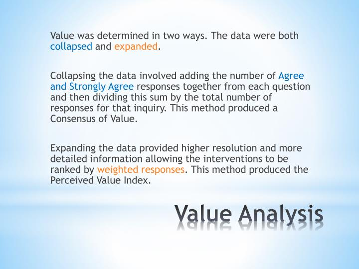 Value was determined in two ways. The