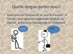 quelle langue parlez vous