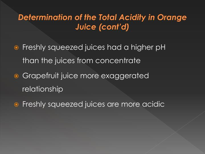 Determination of the Total Acidity in Orange Juice (cont'd)
