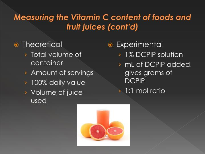 Measuring the Vitamin C content of foods and fruit juices (cont'd)