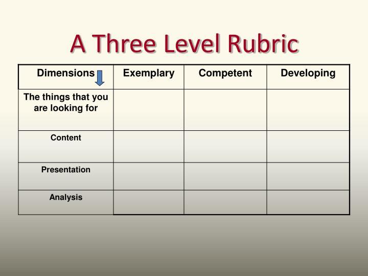 A Three Level Rubric