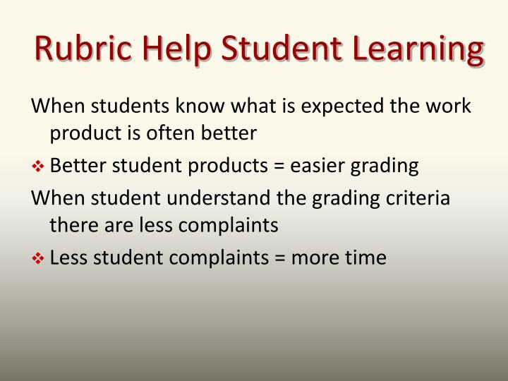 Rubric Help Student Learning