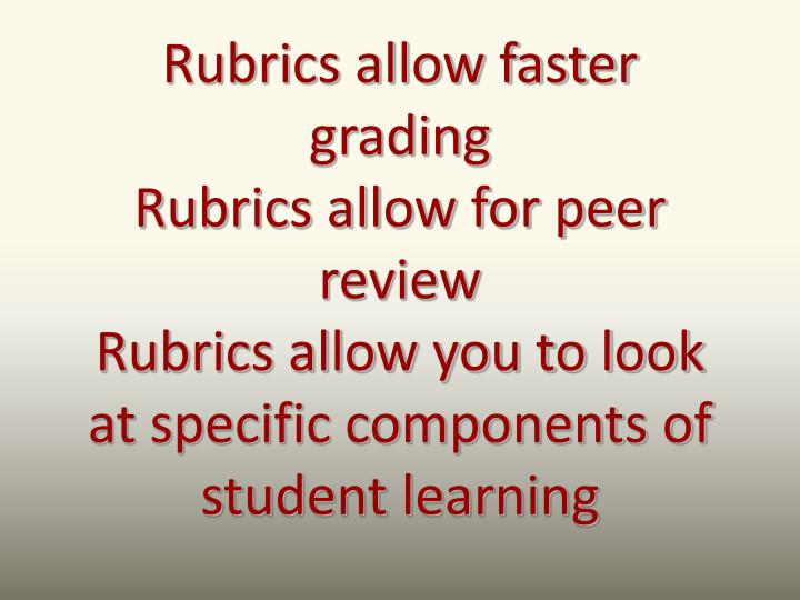 Rubrics allow faster
