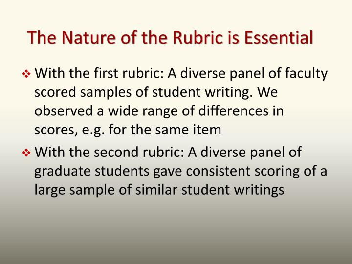 The Nature of the Rubric is Essential