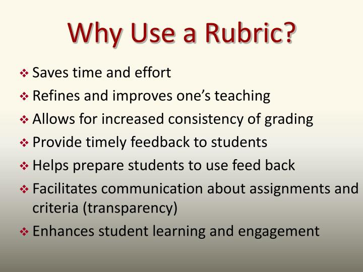 Why Use a Rubric?