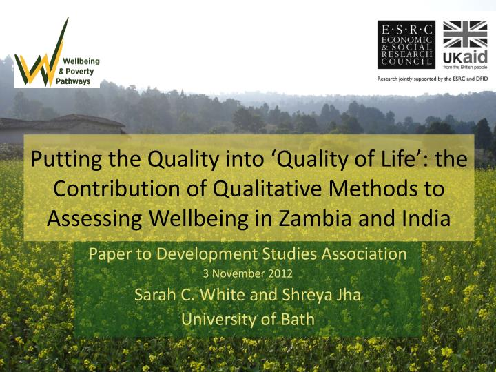 Putting the Quality into 'Quality of Life':