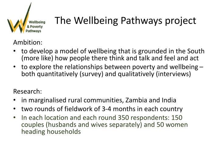 The Wellbeing Pathways project