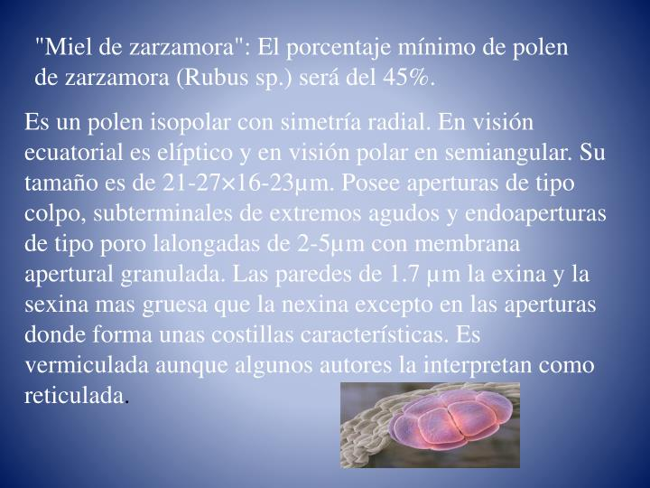 """Miel de zarzamora"": El porcentaje mínimo de polen de zarzamora ("