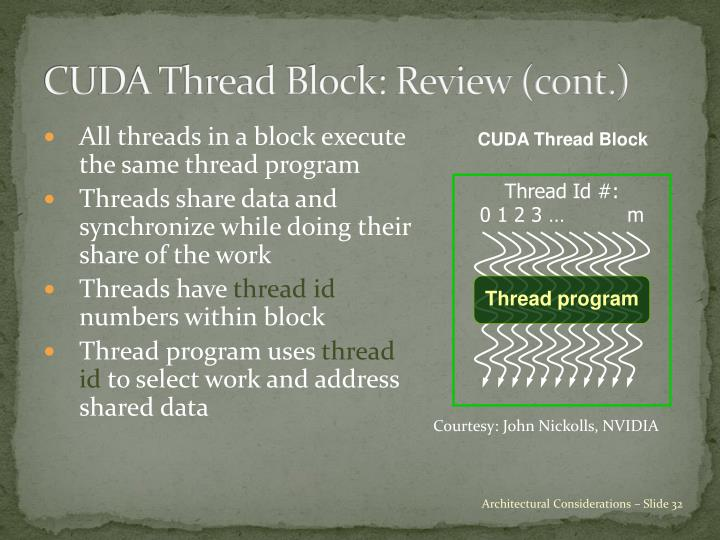 CUDA Thread Block: Review (cont.)