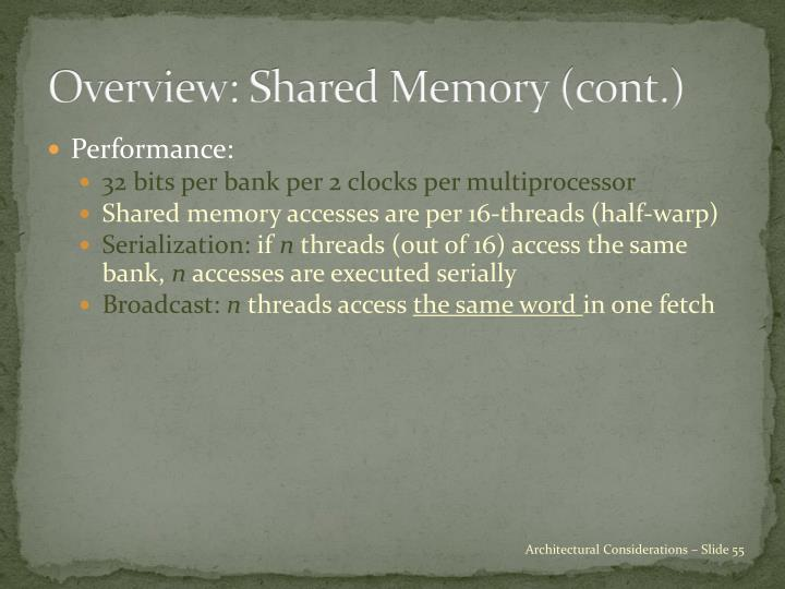 Overview: Shared Memory (cont.)