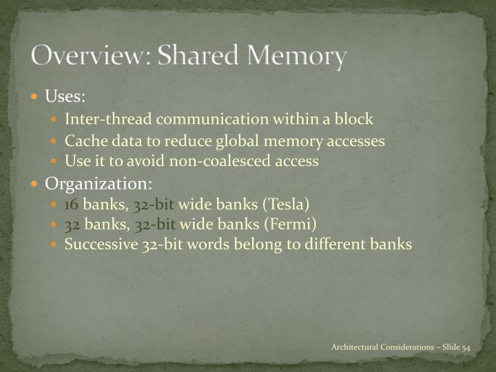 Overview: Shared Memory