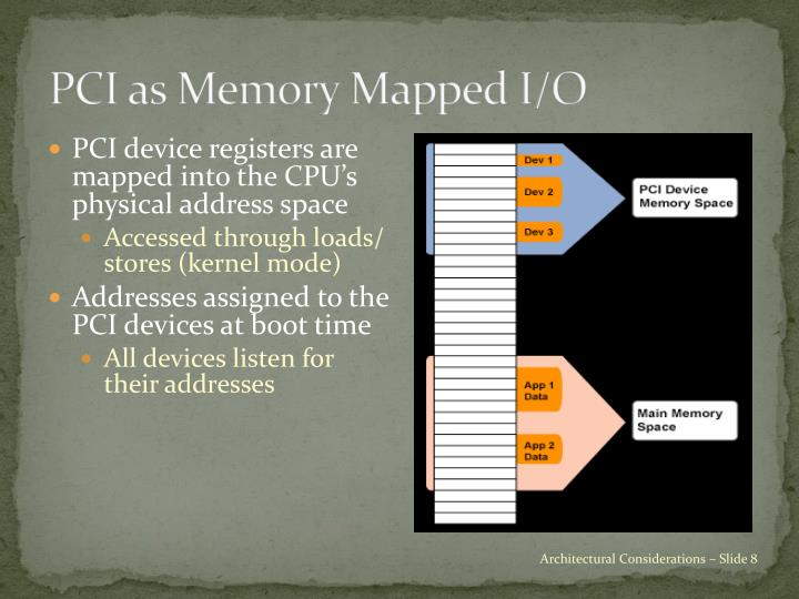 PCI as Memory Mapped I/O