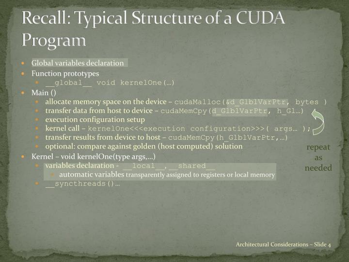Recall: Typical Structure of a CUDA Program
