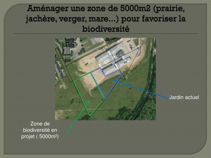 Aménager une zone de 5000m2 (prairie, jachère, verger, mare...) pour favoriser la biodiversité