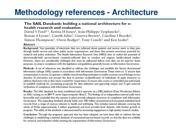 Methodology references - Architecture