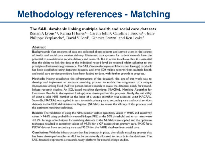 Methodology references - Matching