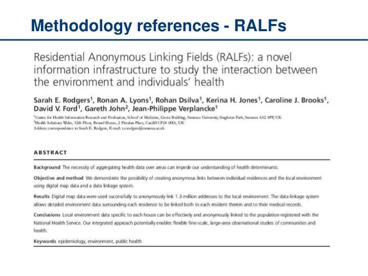 Methodology references - RALFs