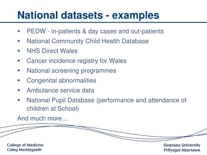National datasets - examples