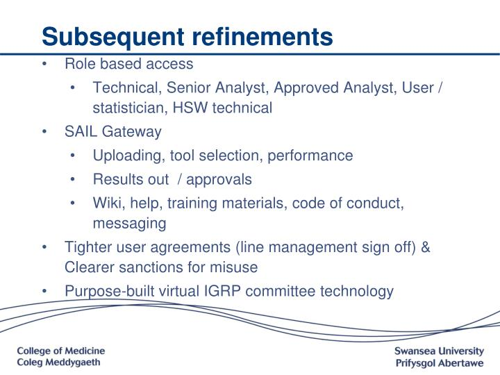 Subsequent refinements