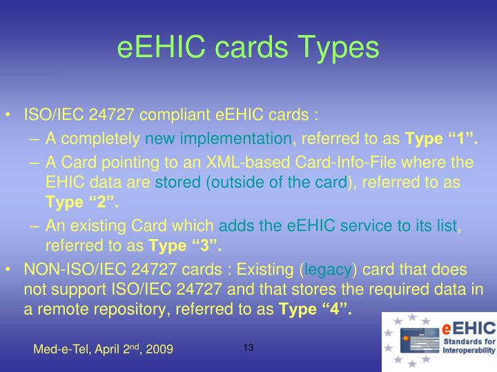 eEHIC cards Types