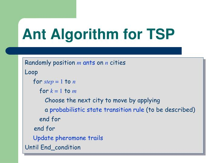 Ant Algorithm for TSP