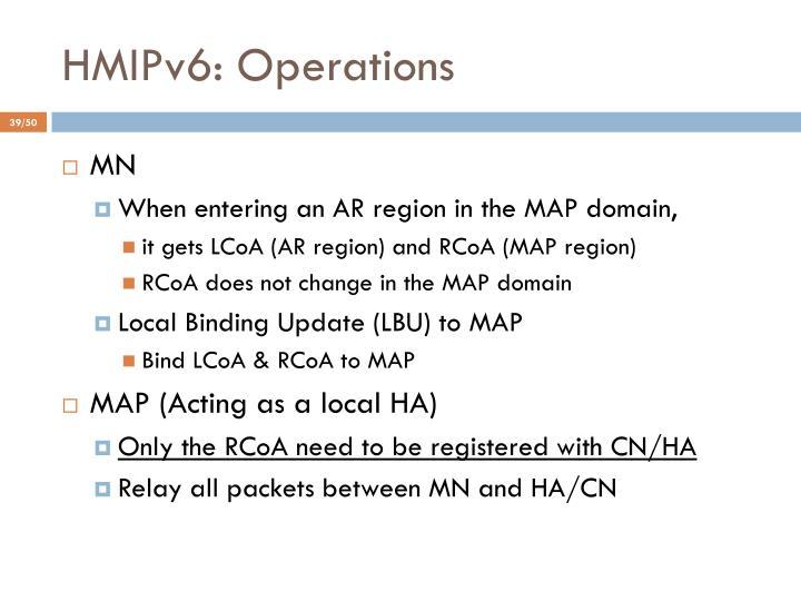 HMIPv6: Operations
