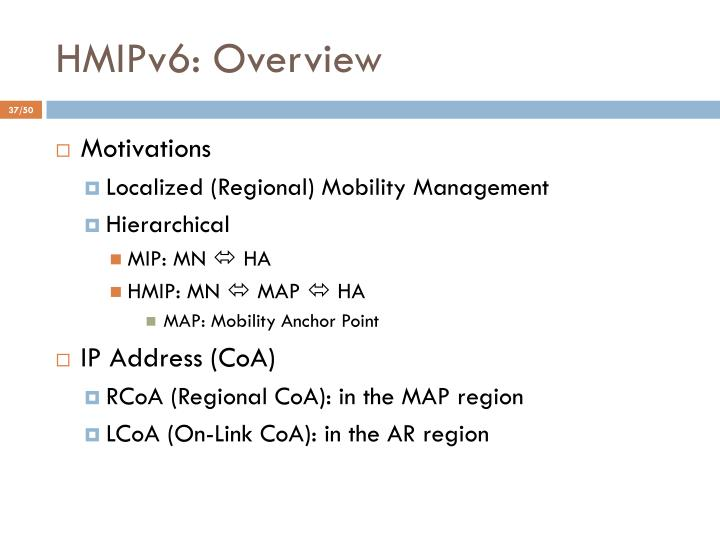 HMIPv6: Overview