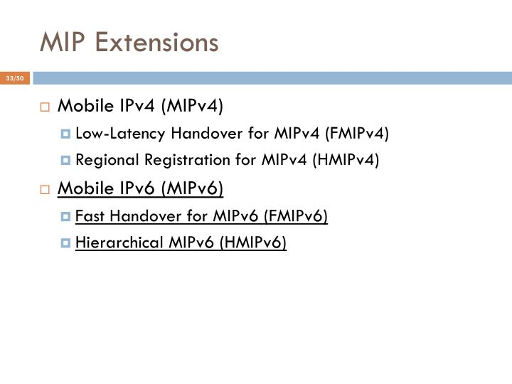MIP Extensions