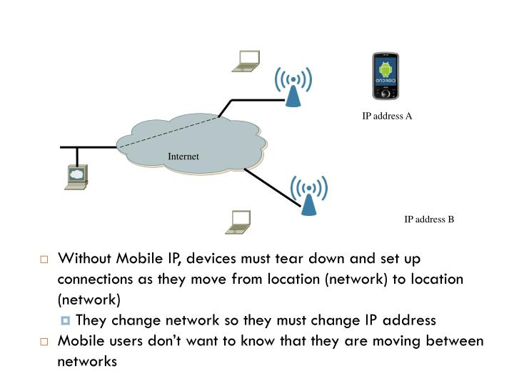 Without Mobile IP, devices must tear down and set up connections as they move from