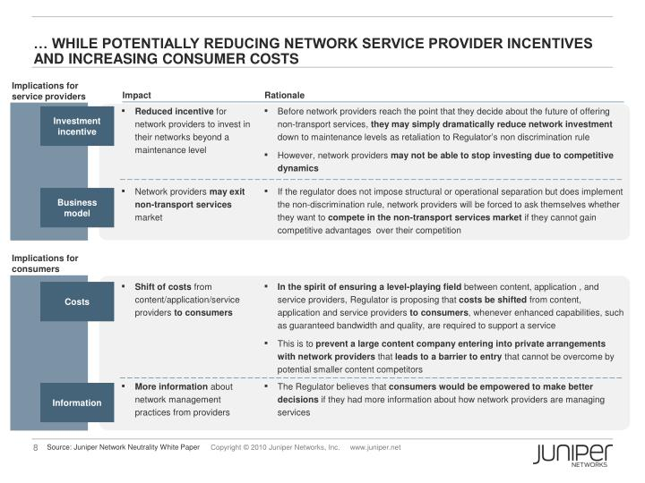 … While potentially reducing network service provider incentives and increasing consumer costs
