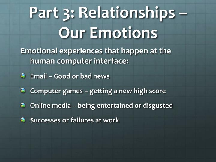 Part 3: Relationships – Our Emotions