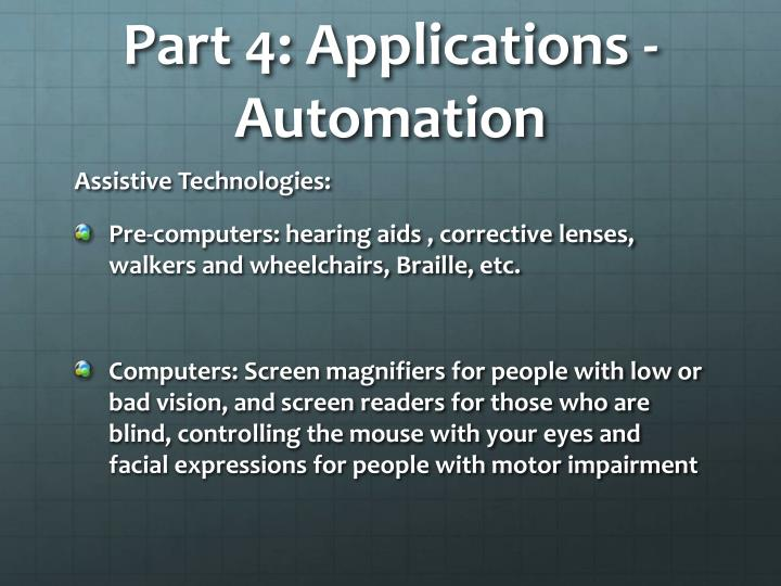 Part 4: Applications - Automation