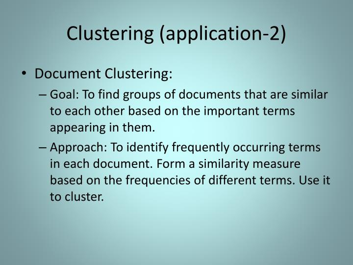 Clustering (application-2)