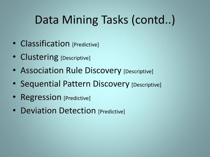 Data Mining Tasks (contd..)