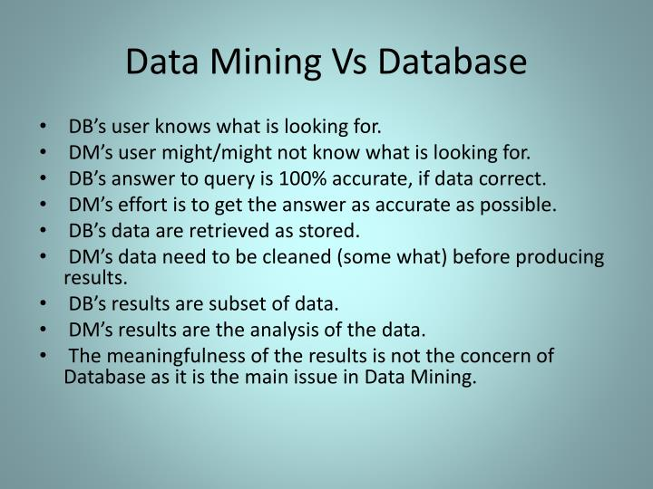Data Mining Vs Database