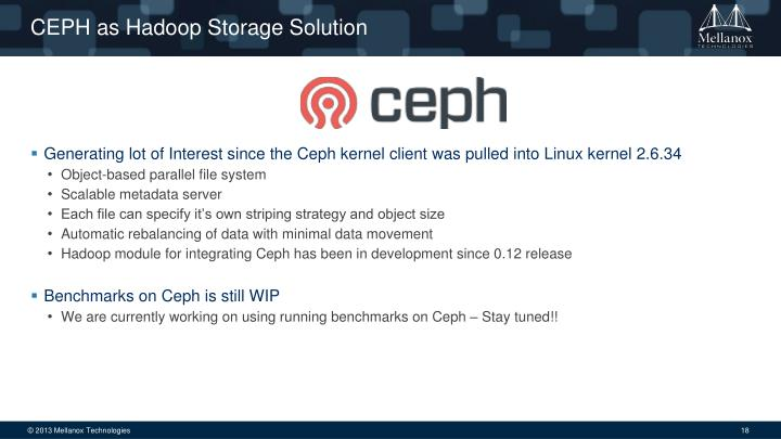 CEPH as Hadoop Storage Solution