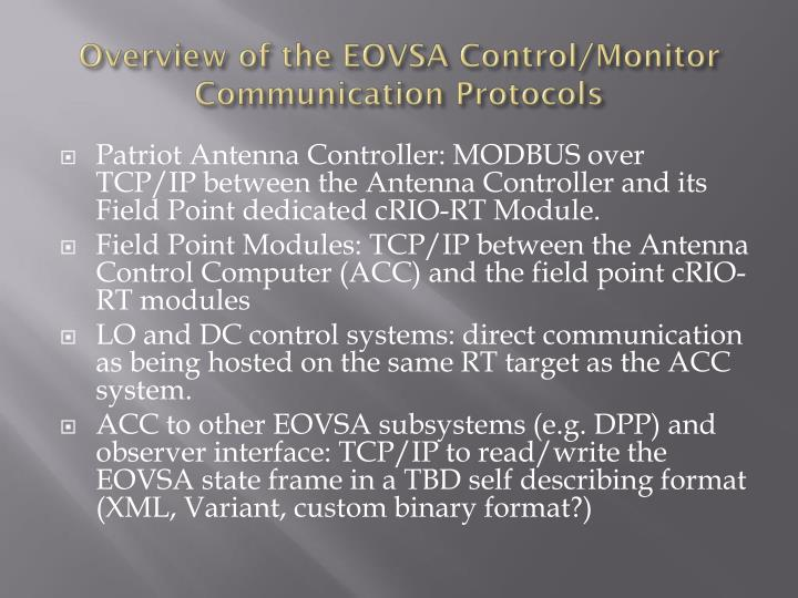 Overview of the EOVSA Control/Monitor Communication Protocols