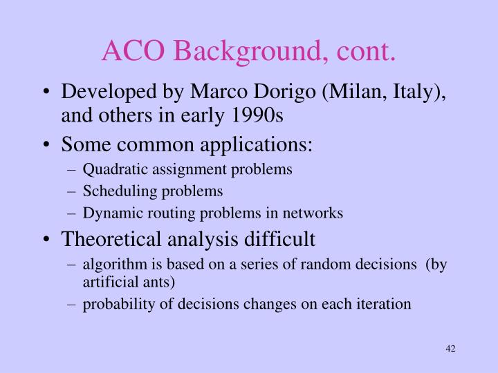 ACO Background, cont.