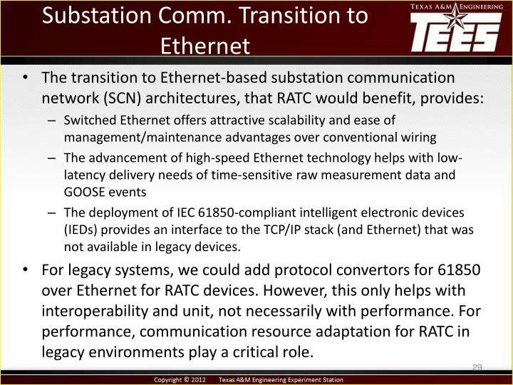 Substation Comm. Transition to Ethernet